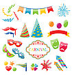 Illustration Set Colorful Objects Of Carnival, Party, Birthday - Vector stock vector