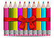 Illustration Set Colorful Pencils Decorated By Bow On White Background - Vector