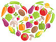 Illustration Set Colorful Vegetables In Heart Shape - Vector