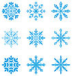 Illustration Set Of Different Snowflakes Isolated On White Background - Vector