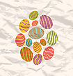 Illustration Set Easter Eggs, Vintage Celebration Background - Vector