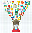 Illustration Set Of Education Flat Colorful Icons With Schoolgirl - Vector