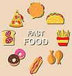 Illustration Set Fast Food Flat Icons With Shadows - Vector