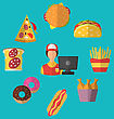 Illustration Set Fast Food Flat Icons With Cashier Seller - Vector