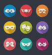 Illustration Set Flat Icons Of Carnival Or Theatre Masks With Long Shadows - Vector