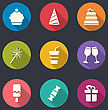 Illustration Set Flat Icons Of Party Objects With Long Shadows - Vector