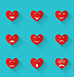 Illustration Set Flat Icons Of Smiles Heart, Style With Long Shadows - Vector