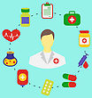 Illustration Set Flat Medical Icons For Web Design - Vector stock illustration