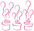 Illustration Set Gift Boxes With Balloons For Your Anniversary