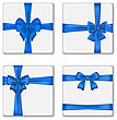 Illustration Set Gift Boxes With Blue Bows Isolated On White Background - Vector