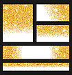 Illustration Set Of Glitter Cards. Golden Surface. Copy Space For Your Text - Vector