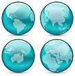 Illustration Set Globes Showing Earth With Continents - Vector