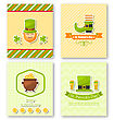 Illustration Set Greeting Posters With Traditional Symbols For St. Patricks Day, Colorful Icons In Flat Style - Vector