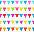 Illustration Set Hanging Bunting Pennants, Colorful Decoration - Vector stock illustration