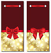 Illustration Set Holiday Glowing Cards With Gift Bows - Vector