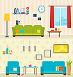 Illustration Set Of Interiors Of Living Rooms. Decoration Of Modern Apartments. Minimalism Style. Home Furniture - Vector