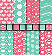 Illustration Set Of Love And Romantic Seamless Backgrounds. Valentine Day Patterns With Pink, Green And White Colors - Vector