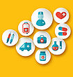 Illustration Set Medical Icons For Web Design - Vector stock illustration