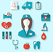 Illustration Set Modern Flat Icons Of Nurse And Medical Objects, Simple Style With Long Shadow - Vector