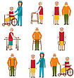 Disability Illustration Set Of Older People Disabled. Elderly People In Different Situations With Caregivers - Vector stock illustration