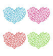 Illustration Set Ornamental Hearts In Floral Hand Drawn Style For Valentine Day, Isolated On White Background - Vector