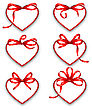 Illustration Set Paper Cards In Form Hearts With Red Bows For Happy Valentines Day, Isolated On White Background. Template For Stickers, Tags, Coupons Of Sales - Vector
