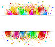 Illustration Set Party Balloons, Confetti With Space For Text - Vector stock illustration