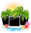Illustration Set Photo Frame With Palms, Flowers, Seascape Background - Vector