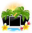Illustration Set Photo Frame With Palms, Flowers Frangipani, Seascape Background - Vector