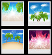 Illustration Set Photo Frames With Beaches - Vector stock vector