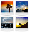 Illustration Set Photo Frames With Beaches - Vector