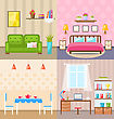Illustration Set Room Interiors With Furniture Flat Icons: Living Rooms With Sofa, Bedroom With Bed, Lamps And Bedside Tables, Dining Room, Home Office With Desk, Bookcase. Minimalism Style - Vector stock illustration
