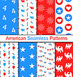 Illustration Set Seamless Pattern For Independence Day Of America, US National Colors - Vector