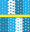Illustration Set Seamless Pattern With Nautical Elements (Sailboats, Fishes, Starfishes, Surfboards, Anchors, Diving Masks, Crabs, Flippers), Blue And White Colors - Vector
