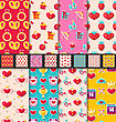Illustration Set Seamless Patterns With Colorful Traditional Objects And Elements For Valentines Day. Collection Holiday Bright Backgrounds - Vector