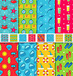 Illustration Set Seamless Patterns With Tourism Objects And Equipments. Can Be Used For Wallpapers, Web Page Backgrounds - Vector