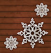 Illustration Set Snowflakes On Wooden Background - Vector