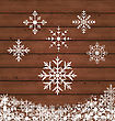 Illustration Set Snowflakes On Wooden Texture - Vector