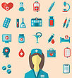 Illustration Set Trendy Flat Icons Of Medical Elements And Nurse - Vector stock illustration