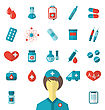 Illustration Set Trendy Flat Medical Icons Isolated On White Background - Vector stock vector