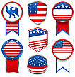 Illustration Set Of Various Graphics And Labels, Emblems In Traditional American Colors. Bright Badges Isolated On White Background - Vector
