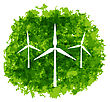 Illustration Set Wind Turbines On Grunge Green Background - Vector