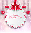 Illustration Shimmering Background With Celebration Paper Card And Hanging Hearts For Valentines Day - Vector