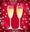 Illustration Shimmering Background With Realistic Glasses Of Champagne - Vector