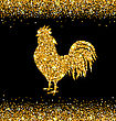 Illustration Shimmering Background With Rooster As Symbol Chinese New Year 2017, Glisten Cock, Surface With Golden Dust - Vector