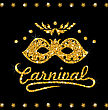 Illustration Shimmering Carnival Mask With Golden Dust On Dark Background. Template For Poster, Card, Invitation For Carnival Party - Vector