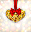 Illustration Shimmering Golden Heart With Red Silk Ribbon And Bow For Happy Valentines Day, On Light Background - Vector