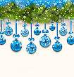 Illustration Shimmering Light Wallpaper With Fir Branches And Blue Glassy Balls For Happy Winter Holidays - Vector
