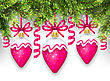 Illustration Shimmering Light Wallpaper With Fir Branches And Christmas Pink Balls For Happy Winter Holidays - Vector