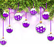 Illustration Shimmering Snowing Background With Fir Branches And Purple Christmas Balls - Vector